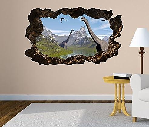 3D Wandtattoo Dino Dinosaurier Kinderzimmer Selbstklebend Wandbild Tattoo  Wohnzimmer Wand Aufkleber 11L2100, Wandbild Größe F