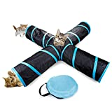 Kvvdi 4-way Cat Tunnel Tube Toys, Interactive Play Toy with Crinkle Sound
