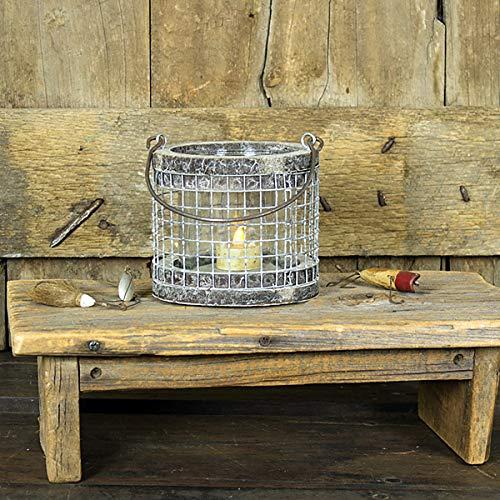 (Small Round Mesh Chicken Wire 5 Inch Natural Birch Country White Wash Lantern Decoration with Handle)