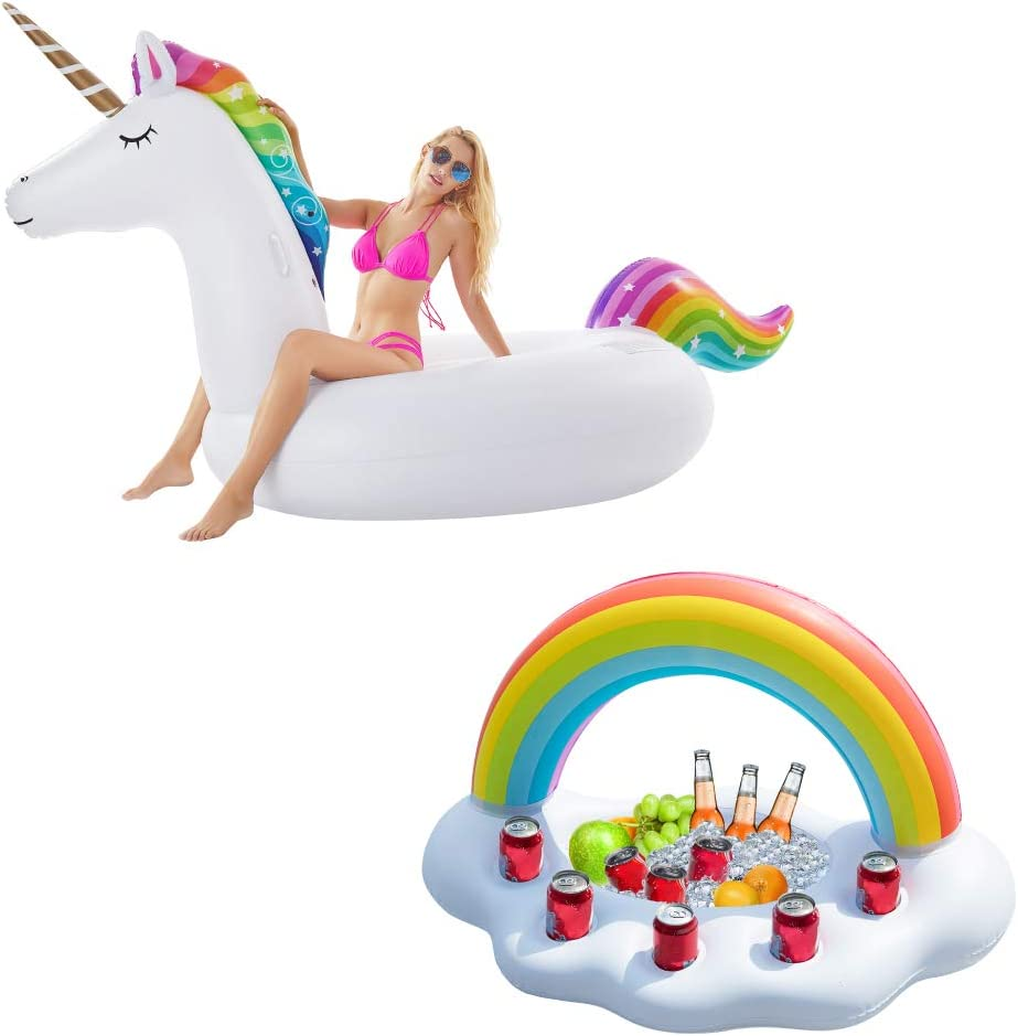 Jasonwell 1 PCS Giant Inflatable Unicorn Pool Float and 1 PCS Inflatable Rainbow Cloud Drink Holder Floating Beverage Salad Fruit Serving Bar
