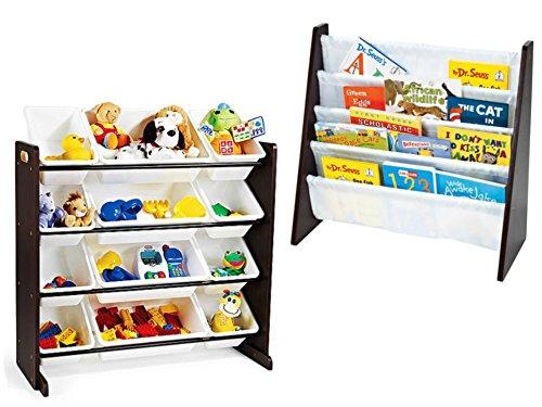 Tot Tutors Toy Organizer with 12-Piece Storage Bins and Tot Tutors Book Rack, Espresso, (Comic Book Halloween Makeup Ideas)