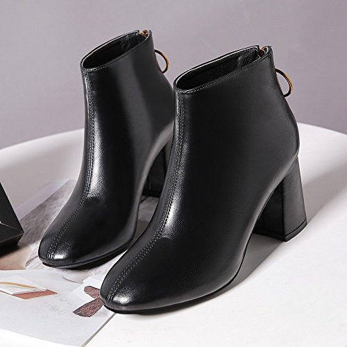 À sandales Carrée Zippée Chaussures Lady Escarpins Hauts Épaisse Tête Noir Bottes femmes Talons Britanniques OnkP08w