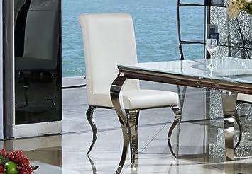 Esszimmerstuhl Luca Kunstleder Weiß Barock Design Stuhl Stühle Esszimmer  Esszimmerstühle