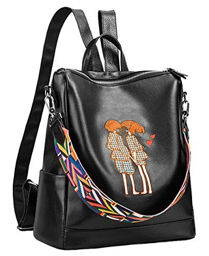 Pu Soft Tote Style01 Bags Black for Backpack Leather Shoulder Girls HopeEye Ladies by Cute Women xAWng4