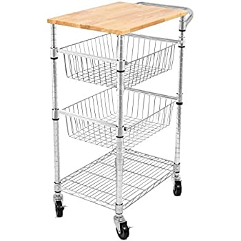 Internetu0027s Best 3 Tier Kitchen Cart With Wire Baskets | Kitchen Island  Trolley With Locking