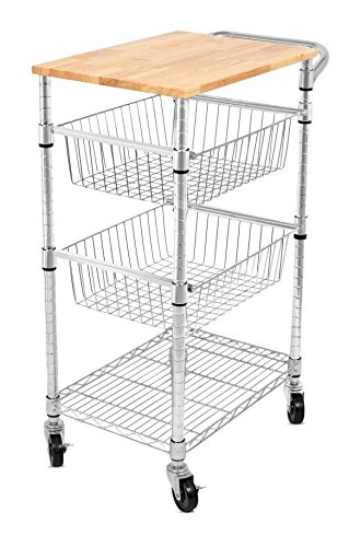 Internet's Best 3-Tier Kitchen Cart with Wire Baskets | Kitchen Island Trolley with Locking Wheels | Removable Cutting Board | 2 Sliding Wire Baskets for Cooking Utensils or Food Storage by Internet's Best