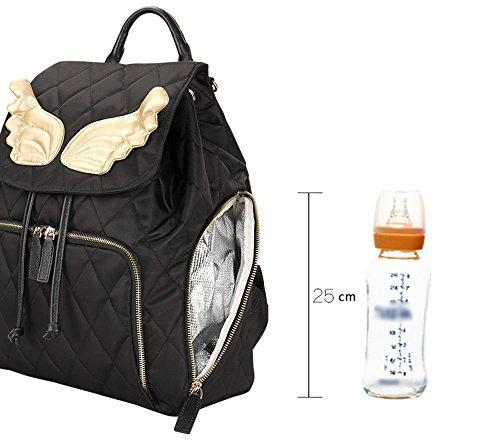 Impermeable hombro bolsa de mamá de múltiples funciones de gran capacidad madre paquete mochila bolsa de bebé ( Color : Negro ) Negro