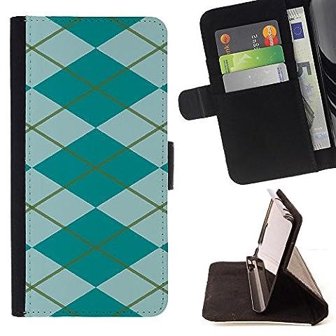 FJCases Argyle Pattern (Teal) Slim Wallet Card Holder Flip Leather Case Cover for Samsung Galaxy S5 - Argyle Purse