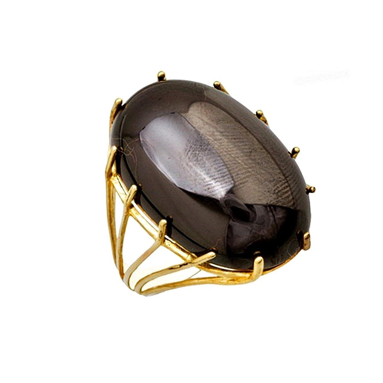 Goldring mit schwarzem stein  18 Karat Gold Ring aus schwarzem Stein Cabochon 24x16mm. [AA6871 ...