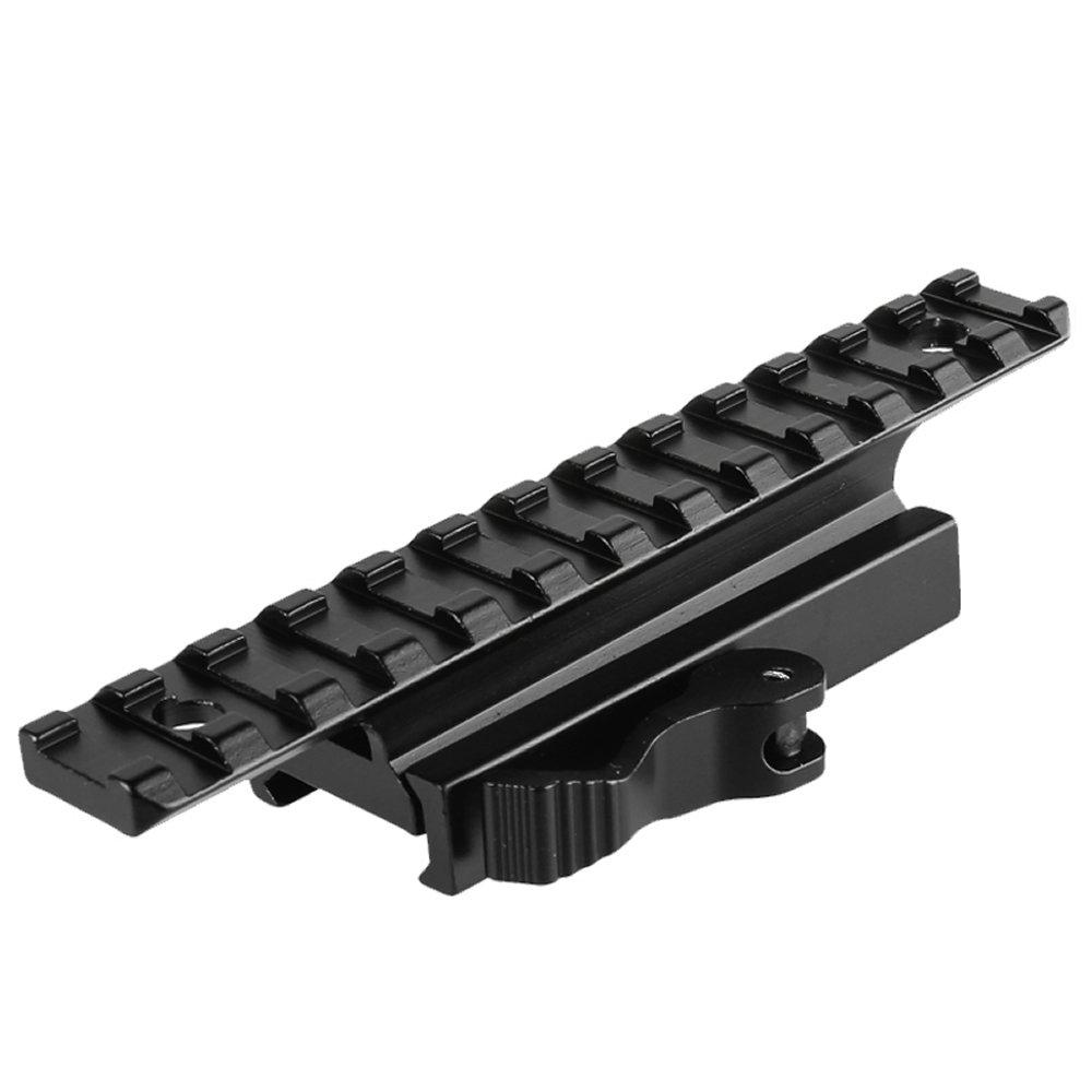 Higoo Quick Release Picatinny Weaver Scope Rail Mount Riser Adapter 13 Slots