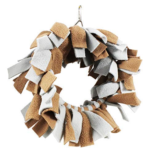 Exotic Nutrition Snuggle Hoop (Brown & Grey) - Soft Fleece Cage Accessory - Sugar Gliders, Squirrels, Marmosets, Birds and Other Small Animals.