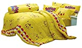 Pikachu Pokemon Official Licensed Yellow Bedding Set, 1 Fitted Sheet, 1 Pillow Case, 1 Bolster Case (Not Included Comforter) SL502 Set A Size 42'x78' (Twin)