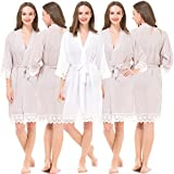 Set of 5 Personalized Cotton Robes for Bride and Bridesmaid with Lace Trim
