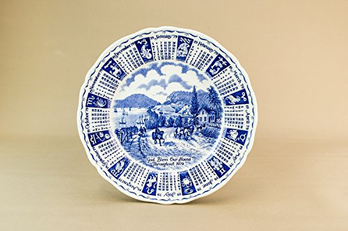 1979 Year Calendar Plate Blue And White Alfred Meakin Landscape English