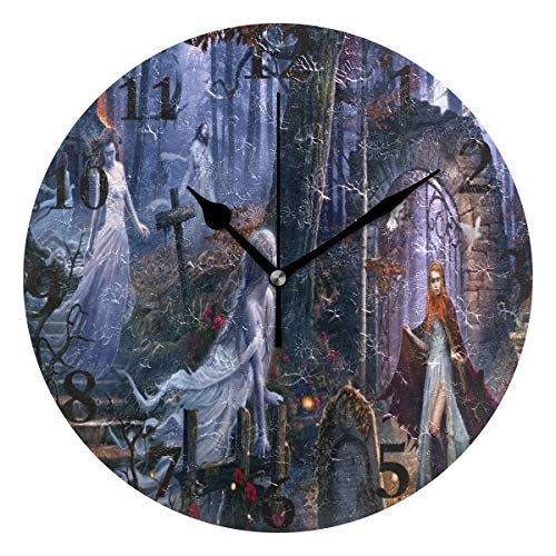 Ladninag Wall Clock Halloween Witch Silent Non Ticking Decorative Round Digital Clocks for Home/Office/School Clock