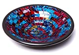 """Glass Mosaic Round Accent Plate Platter Decorative Catch-All Tray Dish Centerpiece Bowl - 11"""" Large Modern Style in Blue, Red, Purple, Yellow Colors for Living Room, Hallway Console Side Table Decor"""