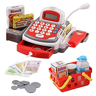 Vokodo Toy Cash Register with Microphone Calculator Grocery Items Shopping Basket Scanner and Pretend Play Money Kids Supermarket Cashier Bank for Preschool Children Boys Girls Toddlers: Toys & Games