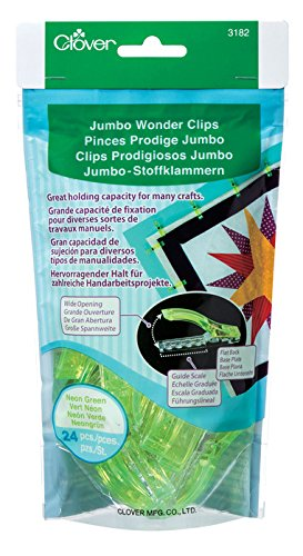 Clover 3182 24-Piece Jumbo Wonder Clips, Neon Green CLO3182