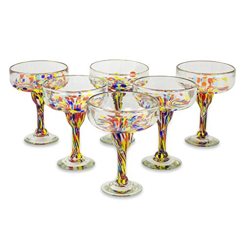 (NOVICA 251970 Confetti Festival Blown Margarita Glasses, 7 inch Tall Clear, 13 oz. (Set of)