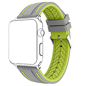 For Apple Watch Band, Copbis Silicone and Sport Replacement Straps Watch Wristband for Iwatch Bands (Lemon+Gray, 38mm)