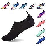 APTRO Water Shoes Men Women Aqua Socks Kayaking Boating Stripes Black US(W:10.5-11-(M:10-10.5)
