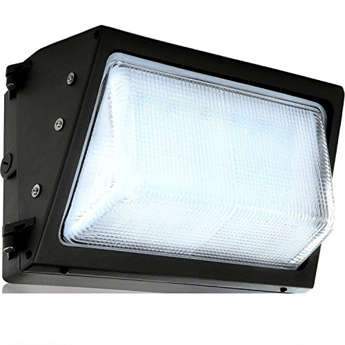 LED Wall-Pack Glass Lens- 60W 5000K Commercial Outdoor Light Fixture (Out-Door Security Porch Lighting For Industrial Out-Side) 120-277V Diecast Glass Lens Light Fixture