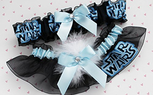 Custom sizing - Star Wars fabric handmade on black sheer organza into keepsake wedding bridal garters - Light Blue garter set with white marabou puff