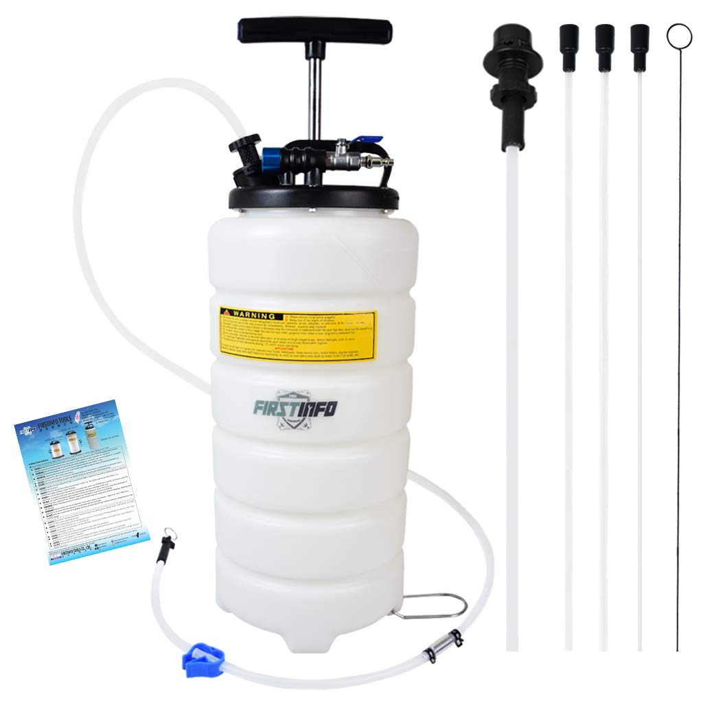 FIRSTINFO 15 Liter Pneumatic Manual Fluid Extractor/Vacuum Oil Pump includes 6.6 ft Long Silicon Brake Fluid Hose with Check Valve Set (Standard w/Extra 3.54.5 mm Hose)