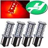 YINTATECH Red LED Car Lights 1156 BA15S 1141 1003 18-SMD RV Camper Tail Brake Stop Backup LED Bulbs (Pack of 4)