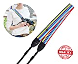 Camera Neck Shoulder Strap Belt for ALL DSLR / SLR (Nikon Canon Sony Olympus Pentax Fujifilm etc) – Cute Design for Men & Women – Adjustable Lanyard - Made of Cloth & Leather - Cold Rainbow Color