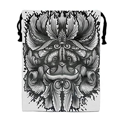 - Filigree Leaves Forest Creature Beast Variant Drawstring Backpack Bags Goody Bags Party Favor Bags Supplies for Boys and Girls