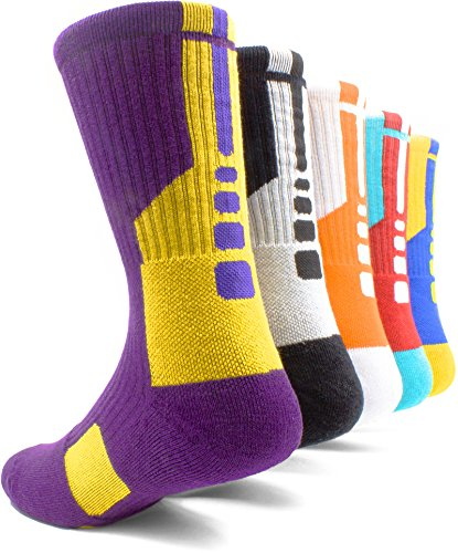 Basketball Socks (Basketball Socks Mens&Womens Pack Of 5 Compression Cotton Sport Crew Sox-Great for running,riding,hiking,work,skiing,hunting.)