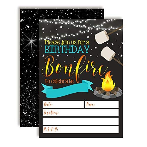 Backyard Bonfire Camping Under The Stars Birthday Party Invitations for Boys, 20 5