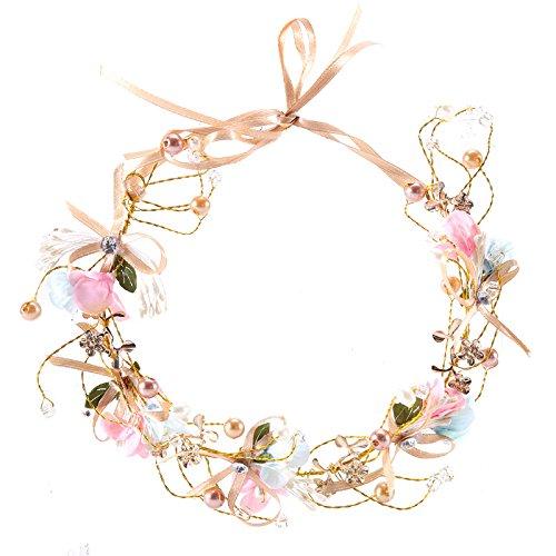 Artfen Handmade Bridal Flower Garland Bow Headband Bridesmaid Children Crown Hair Wreath Halo Adjustable Ribbon Wedding Festivals Party -