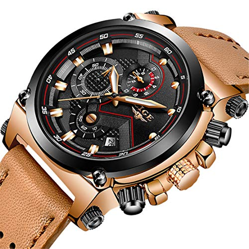 - LIGE Men's Fashion Sport Quartz Watch with Brown Leather Strap Chronograph Waterproof Auto Date Analog Black Men Wrist Watches
