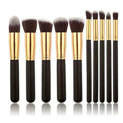 Wooden Makeup Brushes - New Arrive 10 pcs Synthetic Kabuki Makeup Brush Set Cosmetics Foundation blending blush makeup tool - Wooden Handle Makeup Brushes (1)