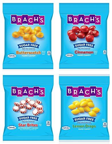 Brach's Sugar Free Hard Candy Bundle - Lemon Drops (4.5 oz), Cinnamon (3.5 oz), Butterscotch (3.5 oz), and Peppermint (3.5 oz)