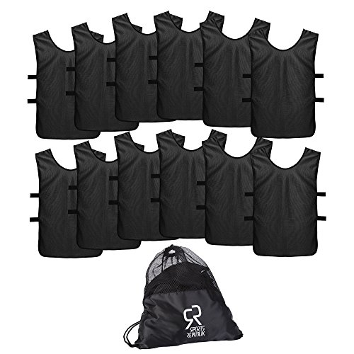 SportsRepublik Pinnies Scrimmage Vests for Kids, Youth and Adults (12-Pack) - Perfect as Basketball Team Practice Jersey, Football Jersey or Pennies for Soccer - Last Longer and Look Cooler