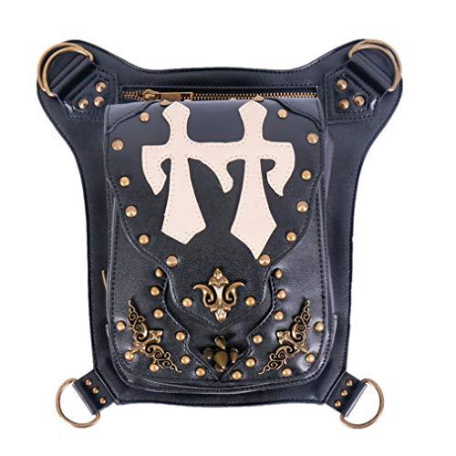 MIRUIKE Black Waist Packs Steampunk Leather Purses Handbag Gothic Outdoor Sports Bag Retro Leg Bag Travel Bags