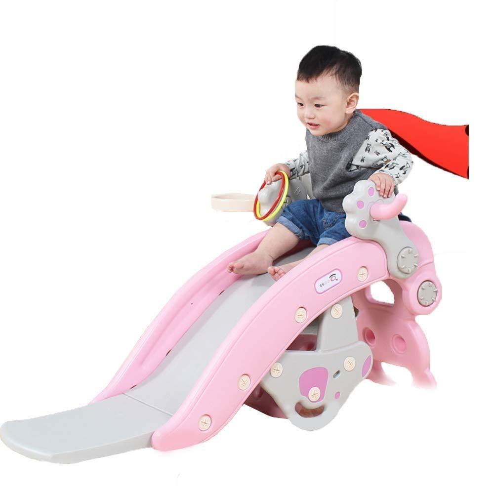 PNFP Children's Slide Rocking Horse Combination Kids Plastic Toy Shooting Indoor Outdoor Slide Garden Play Area,Suitable for 1-6 Yearsold Baby (Color : Pink) by PNFP