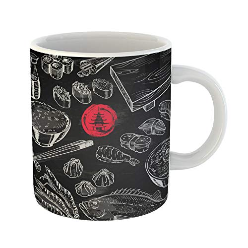 Emvency Coffee Tea Mug Gift 11 Ounces Funny Ceramic Sushi Japanese Food on Chalkboard Chalk Rice Gifts For Family Friends Coworkers Boss Mug]()