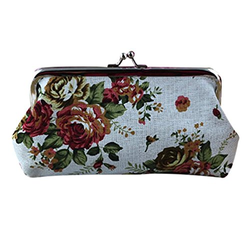 Clearance! FDelinK Coin Pouch Canvas Card Purse Clasp Closure Classic Flower Pattern Keys Wallet Gift (White)