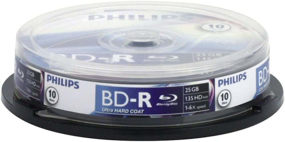 Philips BLU-Ray Recordable 25GB 6X SP 10 Ejes