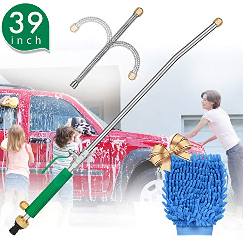 (Hydro Jet High Pressure Power Washer, Extension Power Water Hose Nozzle Wand, Flexible Hose Attachment Sprayer Gun for Car Washing Gutter & Window Cleaning with Free Scrubbing Mitt)