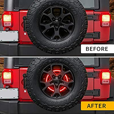 Spare Tire Brake Light Wheel Light 3rd Third Brake Light for Jeep Wrangler 2007-2020 JK JKU YJ TJ,Red Light: Automotive
