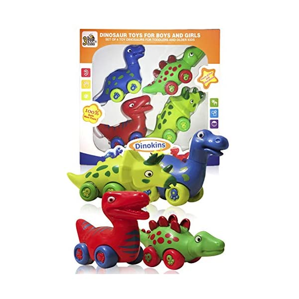 51HlXc8pSuL. SS600  - 3 Bees & Me Dinosaur Toys for Boys and Girls - 4 Toy Dinosaurs for Kids - Fun Dinosaur Cars