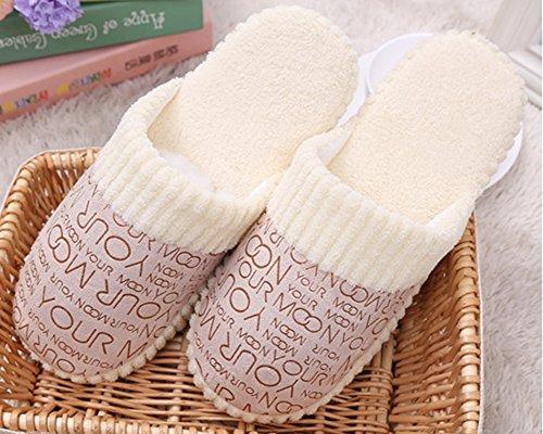Hiver Chaussons d'hiver corail Chaussons Pantoufles Intérieure Beige Chaussures Hommes Ouatine de Anti Derapant Femmes qwTg1t