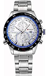 Voeons Mens Watches Luminous Hands Silver Band Blue Dial with Calendar