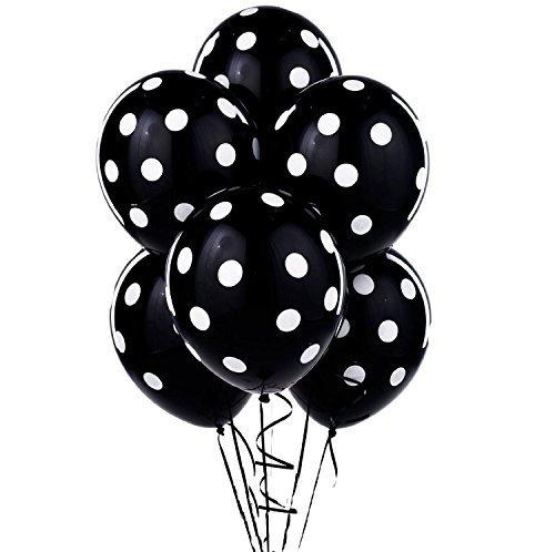 12 Black and White Polka Dot Balloons!