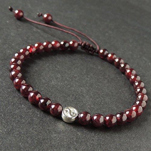 Healing Garnet Gemstones Tibetan Silver Ying Yang, Balance, Protection Bead Handmade Adjustable Braided Drawstring Bracelet with 5.5mm Beads